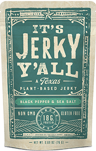 "Packaging for Black Pepper and Sea Salt Vegan ""beef"" Jerky made in Texas"