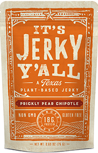 Packaging for Prickly Pear Chipotle Meatless Jerky Made in Texas