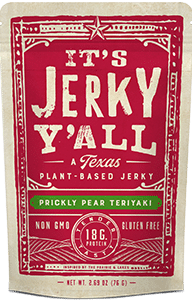 Packaging for Prickly Pear Teriyaki Meatless Jerky Made in Texas