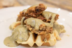 Vegan Chicken Fried Steak and Waffles