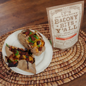 bacony bits with delicious plant-based food