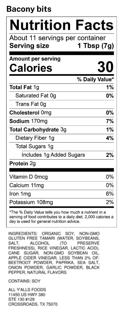 protein & nutrition values of plant-based bacon meat